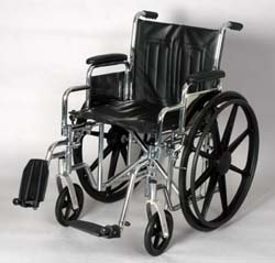 "Desk Wheelchair - 20"" wide. This removable desk arm wheelchair with swing away removable footrest has, Weight capacity: 300lbs, Compatatible with the leading manufacturers parts and accessories, Removable swing away footrests, Heavy duty liners in the back and seat prevents fabric from stretching, Limited lifetime warranty on the frame."