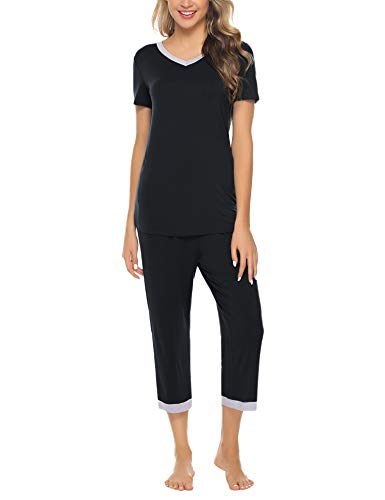 Hawiton Women's Capri Pants Pajamas Set Cotton Stretchy Knit Short Sleeve Sleepwear S-XL Black ()