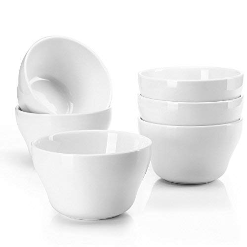 Sweese 1301 Porcelain Bouillon Cups - 8 Ounce Dessert Bowls for Cottage Cheese, Fruit, Crackers, Salsa, Little Size Dishes - Set of 6, White ()