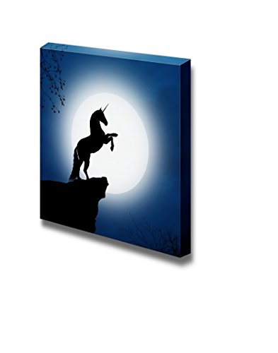 wall26 - Canvas Prints Wall Art - Fantastic Unicorn in a Full Moon Night | Modern Wall Decor/Home Decoration Stretched Gallery Canvas Wrap Giclee Print. Ready to Hang - 24
