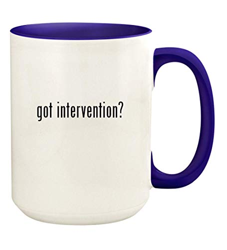 got intervention? - 15oz Ceramic Colored Handle and Inside Coffee Mug Cup, Deep Purple (Best Careers For Adhd)