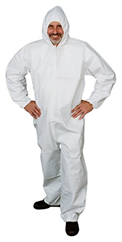 Microporous Film Disposable Coveralls - ValuMax 4904WHM LiquidGuard Microporous Breathable Film Disposable Coverall, Elastic Cuffs and Ankles, Hood, White, M, Case of 25