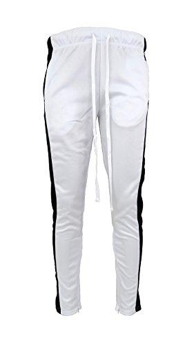 Henry & William Men's Techno Track Pants W/Ankle Zipper (White Black, S) ()