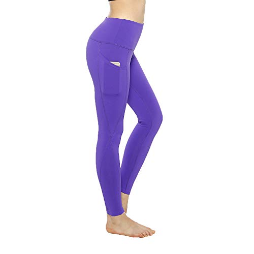 KT Buttery Soft Leggings Capri for Women - High Waisted Leggings Pants with Inner Pocket - Reg & Plus Size (Small, Side Pockets-Purple) ()