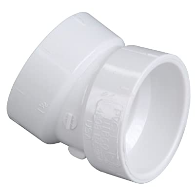 NIBCO 4808 Series PVC DWV Pipe Fitting, 22.5 Degree Elbow, Hub