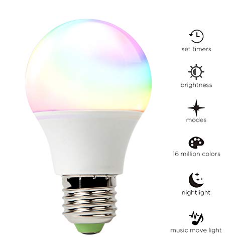 Cheap Smart Led Light Bulb, WiFi Light, RGB LED Dimmable Light, Multi-Color, No Hub Required, Home Nignt Lamp, Compatible with Amazon Alexa and Google Assistant 45W Equivalent-1 Park