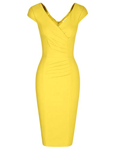 MUXXN Audrey Hepburn Style Deep V Neck Sleeveless Bandage Bodycon Pencil Dress (Yellow XL)