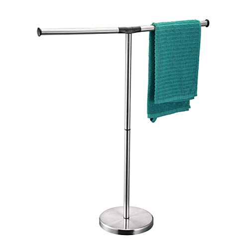 ALHAKIN Towel Rack Stand, 32 Inch Floor Free Standing T Style Stainless Steel 2 Arms Bathroom Towel Holder