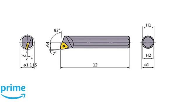 1 Shank Dia Mitsubishi Materials S-SWUCR-163 S-SWUC Series Screw Clamp Boring Bar with 0.375 IC Trigon Insert Steel Shank 1.250 Minimum Cutting Dia. Right 93/° Cutting Angle
