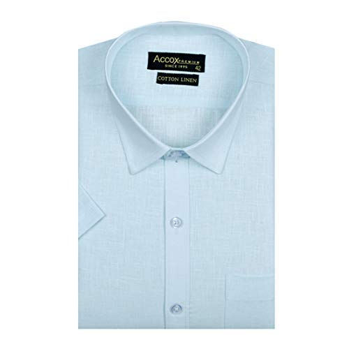 ACCOX Men's Half Sleeves Formal Regular Fit Cotton Linen Shirt(GC313)