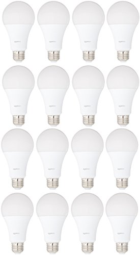 AmazonBasics 100 Watt Equivalent, Daylight, Non-Dimmable, 15,000 Hour Lifetime, A21 LED Light Bulb | 16-Pack
