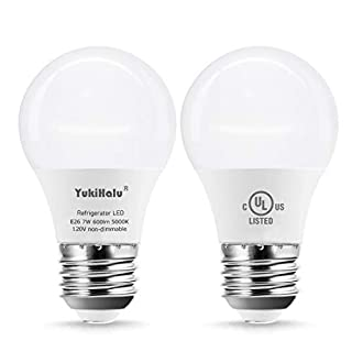 YUKIHALU, LED Refrigerator Light Bulb 60W Equivalent A15 Appliance Fridge Bulbs, Waterproof 600 Lumen 7W 120V Daylight 5000K E26 Medium Base, Small Size Bulb for Damp Location, Not-Dim, 2-Pack