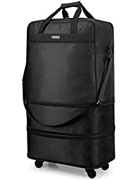 Hanke Expandable Foldable Suitcase Luggage Rolling Travel Bag Duffel Tote Bag for Men Women Lightweight Suitcase Large Capacity Luggage with Spinner Wheels(Black)
