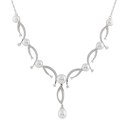 Handpicked AA White 14-15mm Coin Freshwater Cultured Pearls Sterling Silver Rhodium-Plated Collier Necklace