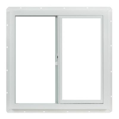 TAFCO WINDOWS 23.5 in. x 23.5 in. Left-Hand Single Slider Vinyl Windows Dual Pane Insulated Glass, and Screen - White