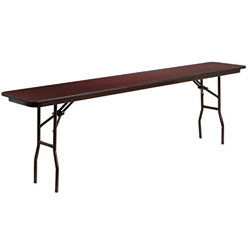 Flash Furniture 18'' x 96'' Rectangular High Pressure Mahogany Laminate Folding Training ()