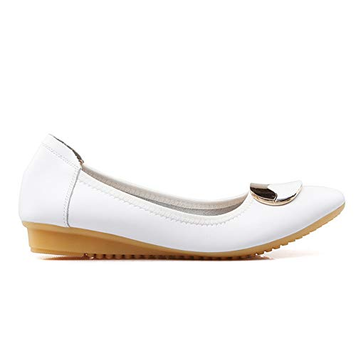 Toggle Beaded Shoes BalaMasa Pumps APL10696 White Womens Travel Urethane a5FxwTqz