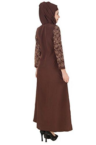 AY braunen Formale Gelegenheit Faden Tragen Abaya MyBatua Bestickt moslemischen amp; 307 Burqa 6vwgxWqpn