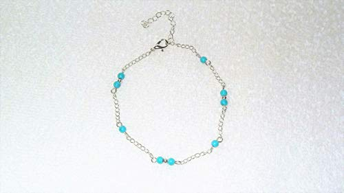Silver Tone Turquoise Beads Ankle Wrist Bracelet Jewelry Fashion Accessory #IS-903 ()