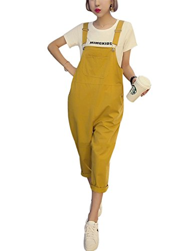 Yeokou Women's Loose Baggy Cotton Wide Leg Jumpsuit Rompers Overalls Harem Pants (Large, Yellow001)