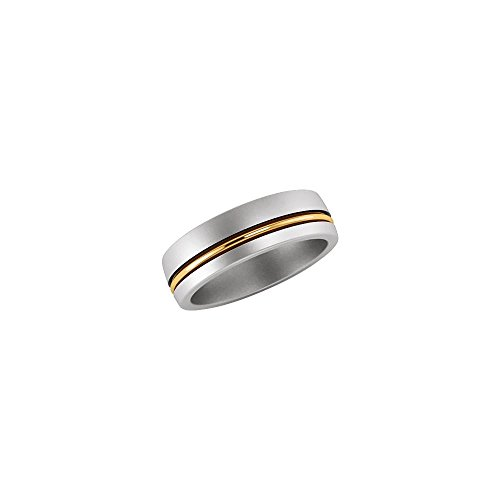 Solid Platinum Band (Platinum & 18k Yellow Gold Comfort-Fit 6mm Grooved Anniversary Wedding Men Gents Band - Size 13)