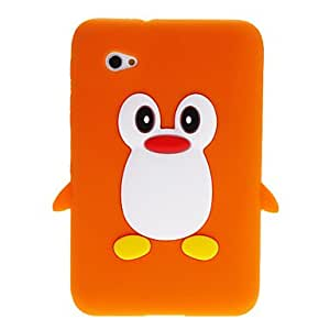 QHY 3D Cute Penguin Cartoon Soft Silicone Back Case Cover for Samsung Galaxy Tablet Tab 2 7.0 P3100 , Pink