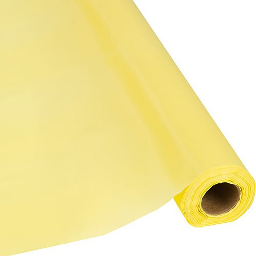 Plastic Party Banquet Table Cover Roll - 300 ft. x 40 in. - Disposable Tablecloth (Yellow)