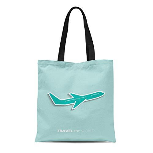(Semtomn Canvas Tote Bag Shoulder Bags Flight Aeroplane Travel the World Plane Airplane Passenger Graphic Women's Handle Shoulder Tote Shopper Handbag)