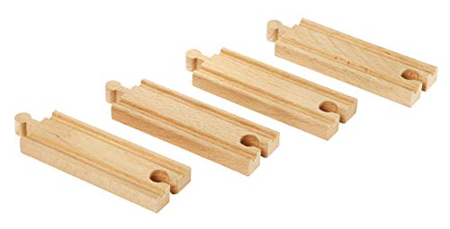 (BRIO World - 33334 Short Straight Tracks | 4 Piece Wooden Train Tracks for Kids Ages 3 and Up)