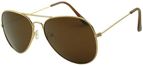 SunglassUP - Dark Black Limo Tint Top Gun Pilot Aviator Sunglasses (Gold, - Top Gun Aviator Sunglasses
