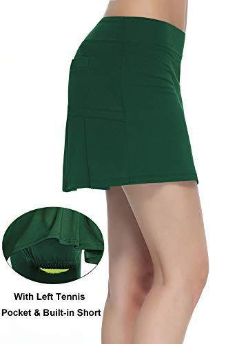 Women's Workout Active Skorts Sports Tennis Golf Skirt with Built-in Shorts Size XL (Deep Green)