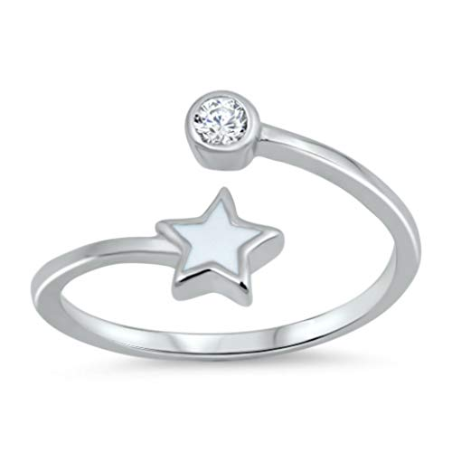 Toe Ring Sterling Silver Clear Crystal Star Adjustable Midi Above The Knuckle