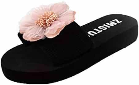 d9dc396ac1a6 Womens Slides, Women Grils Flower Flip Flop Soft Flat Slip On Slide Sandals  Summer Beach
