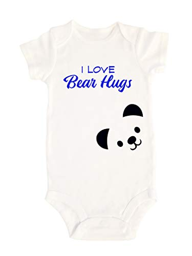 Baby Toddler Boy Girl Cute Funny Outfit Funny Onesie Humorous Bodysuit Apparel Gifts Custom Personalized Onesie (Newborn, Bear Hugs)