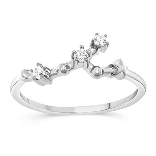 Celestial Star Horoscope TAURUS Astrology Star .10 Diamond Ring in Sterling Silver, Size 8