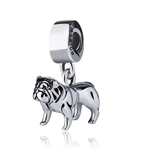 BOLENVI Bulldog Bull Bully Dog 925 Sterling Silver Clip-On Dangle Pendant X Charm Bead For Pandora & Similar Charm…