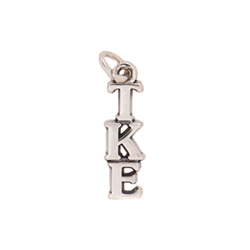 Tau Kappa Epsilon Sorority Letter Sterling Silver or 14k Gold Lavalier Necklace with Chain TKE (Silver)