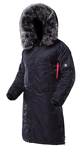 AIRBOSS Men's Parka N-7B Shuttle, Long and Warm Winter Coat for Cold Wether (M, Dark -