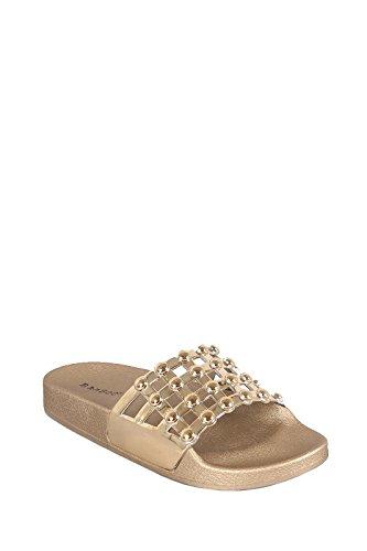 Women Open Toe Fuzzy Furry Faux Fur Rubber Soles Platform Flip Flop Slip-On Sandals (10, Metallic (Furry Slip Ons)