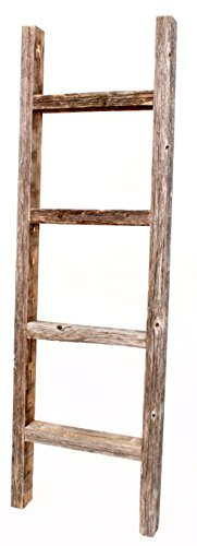BarnwoodUSA Rustic 4 Foot Decorative Wooden Ladder - 100% Reclaimed Wood (Antique Wood Ladder)