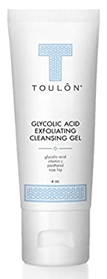 Glycolic Acid Facial Cleanser: Alpha Hydroxy Face Wash with AHA, Vitamin C & Rose Hip to Exfoliate Dry, Sensitive Skin, Reduce Acne & Brighten Age Spots for Women & Men by TOULON