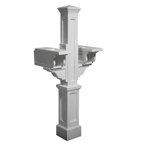 Mayne 5811-WH Rockport Double Mailbox Post, White