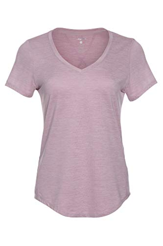 (Layer 8 Women's Essential V-Neck Performance Training Tee (Small, Pink Perfection Heather))