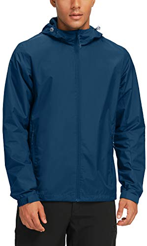 CAMEL CROWN Men's Waterproof Rain Jacket Lightweight Packable Raincoat Hooded Windbreaker Dark Blue XL