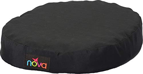 """(NOVA Donut Pillow Seat Cushion with Convoluted """"Egg Crate"""" Foam, Travel Ring Cushion, Removable & Washable Black)"""