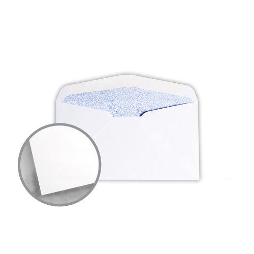Printmaster White w/Blue Security Tint Envelopes - No. 6 3/4 Regular (3 5/8 x 6 1/2) 24 lb Writing Wove 5000 per Carton by National Envelope Printmaster
