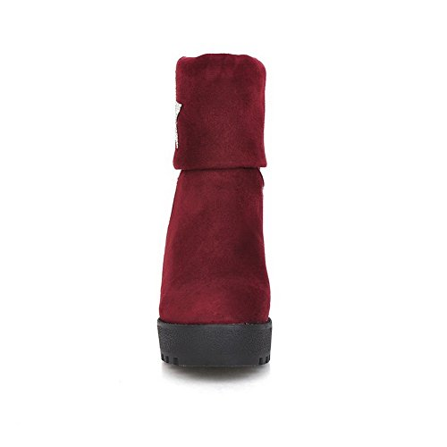 AdeeSu Womens Casual Round-Toe Slip-Resistant Comfort Wedges Urethane Boots SXC01768 Red 90w7HfoH
