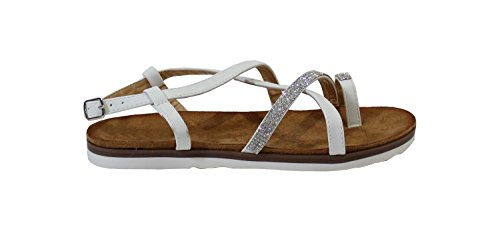 By Shoes Sandale Plate Style Brillant - Femme Blanc m3kp0A0