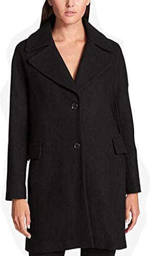 DKNY Single-Breasted Wool-Blend Walker Coat, Black XL