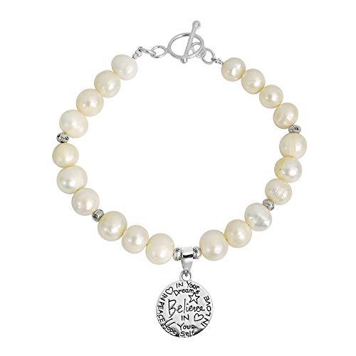 (AeraVida Cultured Freshwater Pearl 'Believe' Inspirational Message .925 Sterling Silver Pendant Link Bracelet)
